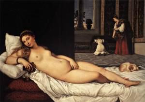 (Venere di Urbino Tiziano, 1538 Óleo sobre lienzo  165 cm × 119 cm Galería Uffizi, Florencia, Italia.