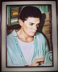 Carlos Héctor Trejos Reyes por el pintor Gonzalo Díaz. Biblioteca Municipal de Riosucio Otto Morales Benítez. Foto de Albeiro Montoya Guiral.