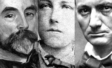Mallarmé, Rimbaud y Baudelaire.  Fuente: confinesdigital.com