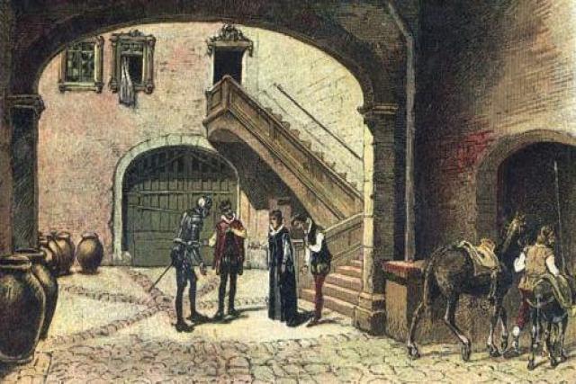 El Quijote en el castillo o casa del Caballero del Verde Gabán.
