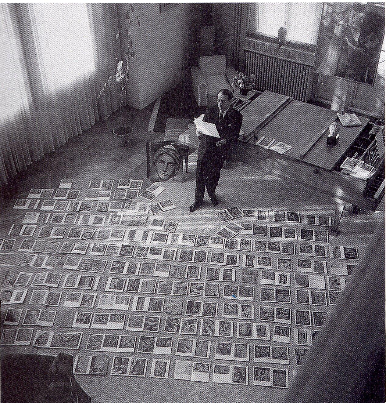 André Malraux, Le Musée Imaginaire (1947). Fotografía de Maurice Jarnoux, 1953. (Fuente: nowwwh.tumblr.com).