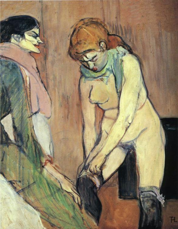 """La pintura en el burdel permitía advertir la ausencia de alma del burgués, el vacío de su interioridad. Y, a la vez, su visión dual de la mujer, entre la fascinación y el miedo. Era el primer paso hacia la aparición del lenguaje plástico de nuestro siglo, abierto por Picasso con Las señoritas de Aviñón (1907). Una obra que él quería titular """"El burdel filosófico""""."""