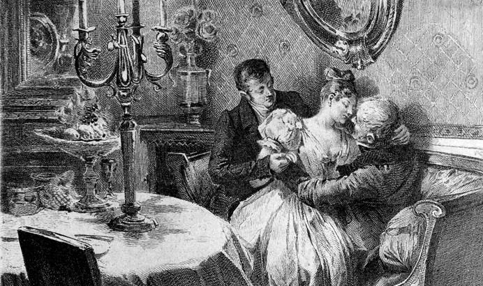 Ilustración para Papá Goriot: La mujer es coqueta mientras no ama.