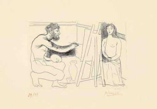 En 1931, Pablo Picasso, fascinado por La obra maestra desconocida de Balzac, realizó una serie de 13 aguafuertes. Los grabados representan sus divagaciones entre él y su modelo en pleno acto de creación, como el tema principal.