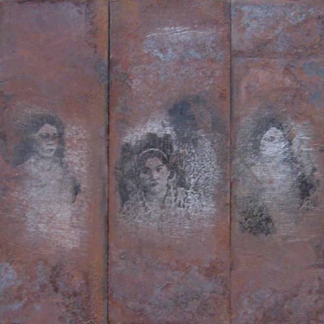 Autor: Omar Moreno Título: Historias de Familia 1 Medidas: 34 cm X 29.5 cm Técnica: Fotograbado sobre lata de aceite.
