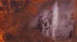Autor: Omar Moreno Título: Vivir es esforzarse Medidas: 8 cm X 10 cm Técnica: Grabado sobre lámina oxidada.