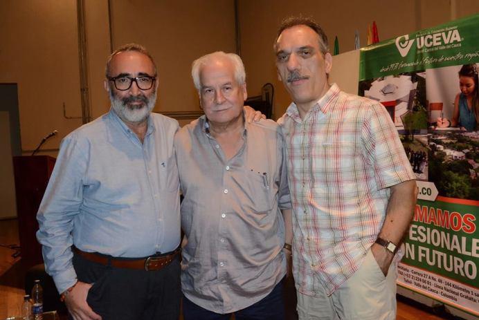 Omar Ortiz, Lisandro Duque y José Alias en la UCEVA (Tuluá). Foto: Olga Lucía Arias.